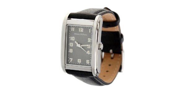 Dámské náramkové hodinky Marc O´Polo s černým koženým řemínekm