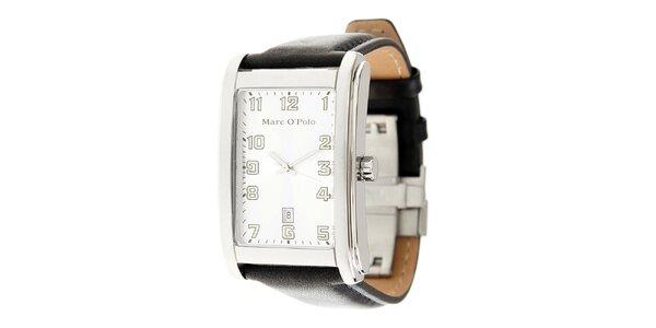 Pánské náramkové hodinky Marc O´Polo s černým koženým řemínkem