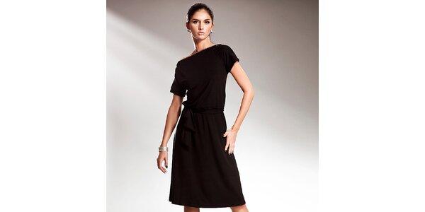 Dámské černé šaty s efektní mašlí Nife