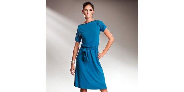 Dámské modré šaty s efektní mašlí Nife
