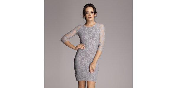Dámské šedé krajkové šaty Figl