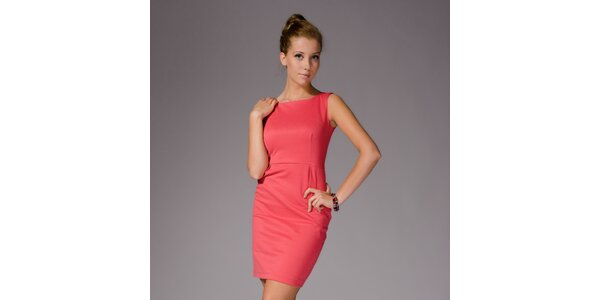 Dámské korálově červené pouzdrové šaty bez rukávů Figl