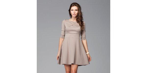 Dámské kávové šaty s kolovou sukní Figl