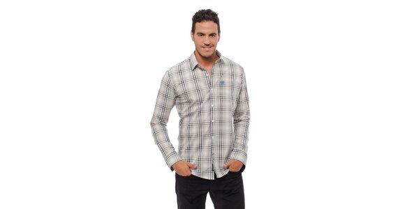 Pánská světle šedá kostkovaná košile Bendorff