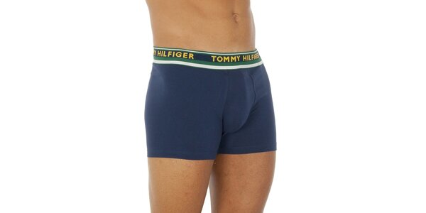 Pánské tmavě modré boxerky se zeleným pasem Tommy Hilfiger