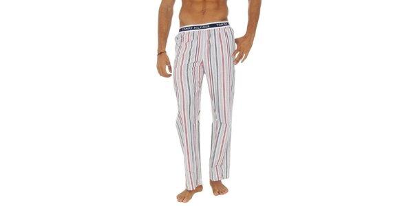 Pánské bílé pruhované pyžamové kalhoty Tommy Hilfiger