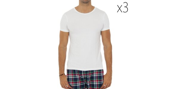 Sada tří pánských bílých triček s krátkým rukávem Tommy Hilfiger