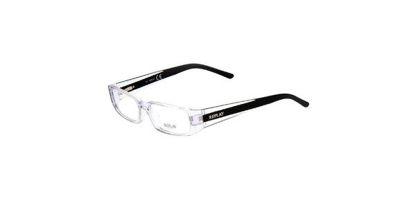 Transparentní brýle s černými pacičkami Replay