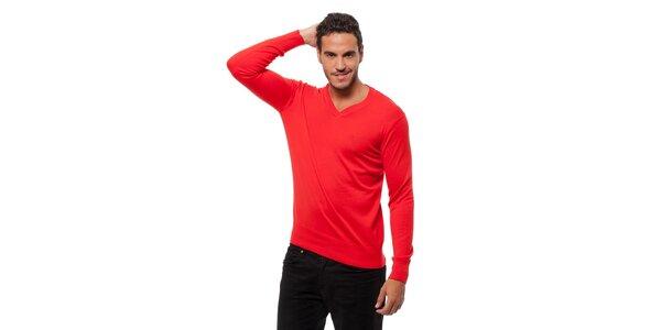 Pánský sytě červený svetr Bendorff