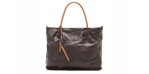 Tmavě hnědá elegantní kabelka