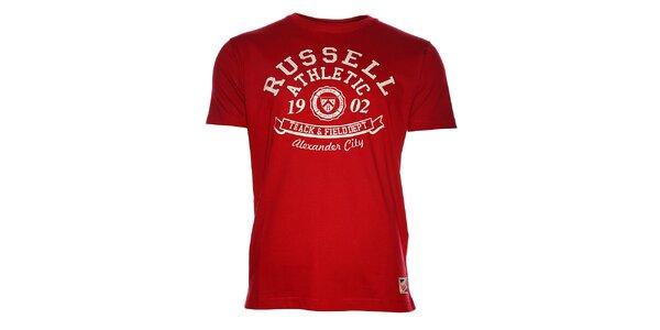 Pánské červené tričko Russell Athletic s potiskem