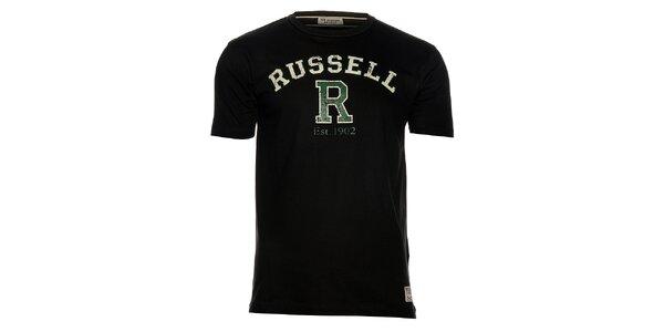Pánské černé tričko Russell Athletic s potiskem