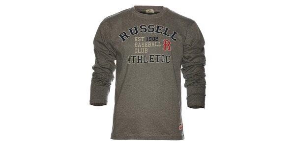 Pánské světle šedé melírované tričko Russell Athletic s potiskem