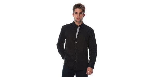 Pánská černá košile se světlými detaily Cristian Lay