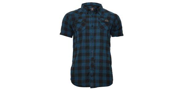 Ležérní pánská kostkovaná košile v modré barvě Deeluxe