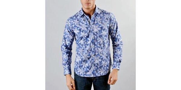 Pánská modrá košile Marcel Massimo se vzorem květin