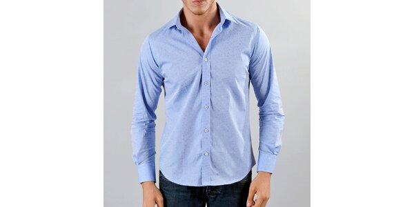Pánská světle modrá košile s drobným vzorkem Marcel Massimo