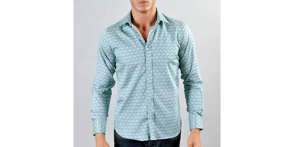 Pánská tyrkysová vzorovaná košile Marcel Massimo
