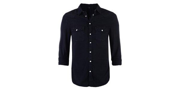 Pánská černá džínová košile Ron Abraham