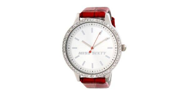 Dámské analogové hodinky s krystaly a červeným páskem Miss Sixty