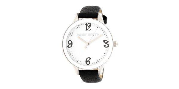 Dámské analogové hodinky s černým koženým řemínkem Miss Sixty
