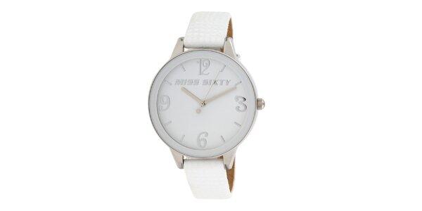 Dámské analogové hodinky s bílým koženým řemínkem Miss Sixty