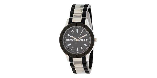 Dámské černo-stříbrné analogové hodinky Miss Sixty