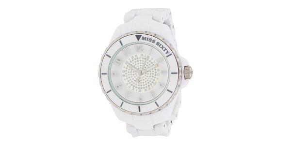 Dámské bílé hodinky se stříbrnými detaily Miss Sixty