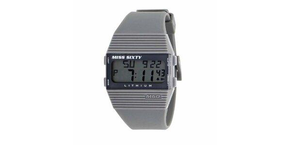 Dámské šedivé plastové hodinky s bílými detaily Miss Sixty