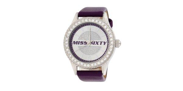 Dámské fialové analogové hodinky Miss Sixty s kamínky a koženým řemínkem
