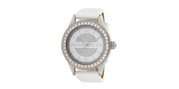 Dámské bílé analogové hodinky Miss Sixty s kamínky a koženým řemínkem