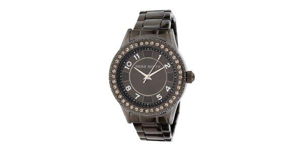 Dámské temně šedé hodinky Miss Sixty s kamínky