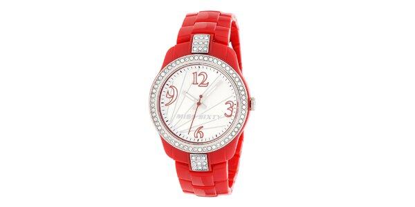 Dámské bílo-červené hodinky Miss Sixty s kamínky