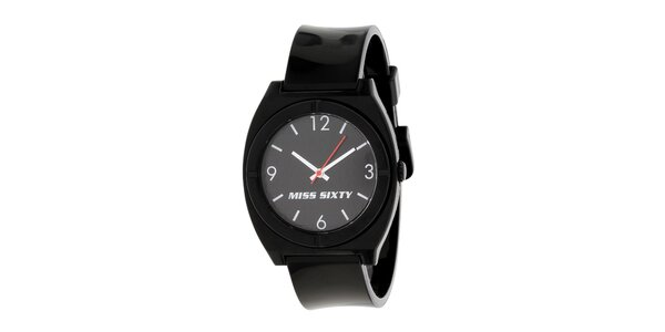 Dámské černé hodinky Miss Sixty s kulatým analogovým ciferníkem