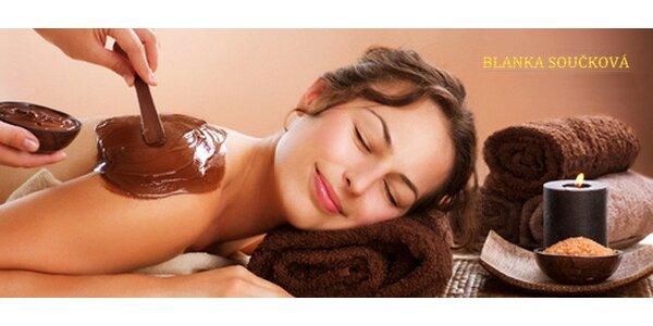 Hřejivá čokoládová masáž, peeling a zábal