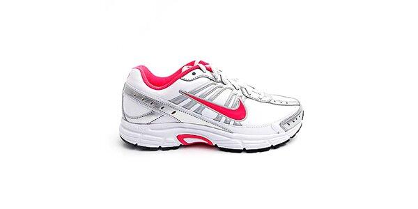 Dámské bílo-stříbrné běžecké boty Nike s růžovými detaily