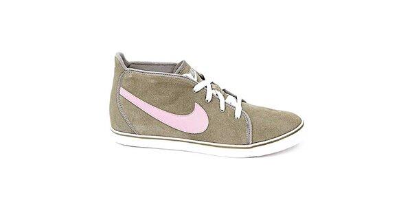 Dámské šedé kotníkové tenisky s růžovými detaily Nike