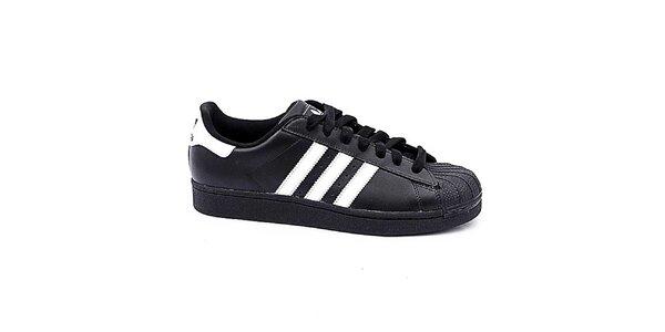 Dětské černo-bílé nízké tenisky Adidas