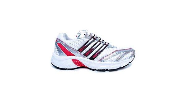 Dámské bílo-stříbrno-červené boty na běh Adidas