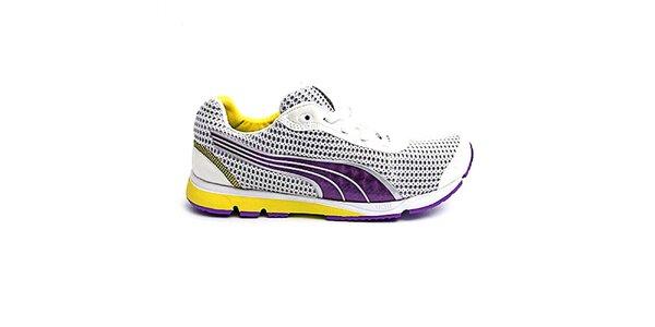 Dámské bílo-fialovo-žluté boty na běh Puma