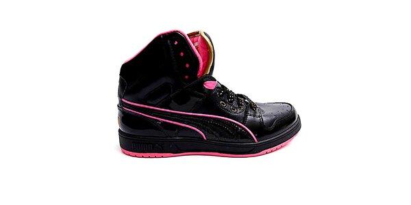Dámské černo-růžové kotníkové boty Puma