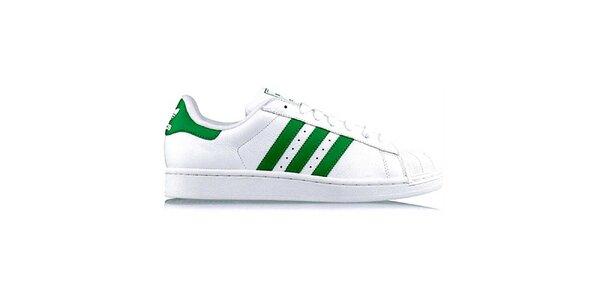 Pánské bílé tenisky se zelenými pruhy Adidas