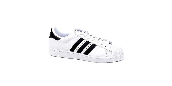 Pánské bílé tenisky s černými pruhy Adidas