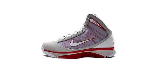 Pánské šedo-červeno-bílé kotníkové tenisky Nike