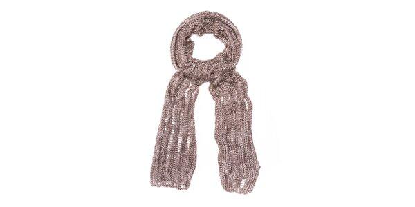 Dámská hnědobéžová pletená šála Bella Rosa