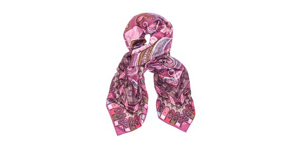 Dámský růžový šátek s orientálním vzorem Bella Rosa