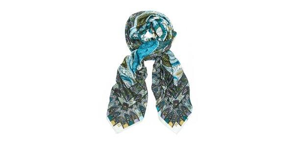 Dámský zelený šátek s orientálním vzorem Bella Rosa