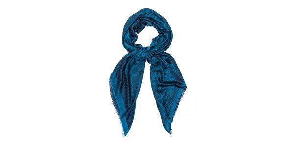Dámská modrá šála se vzorem Bella Rosa