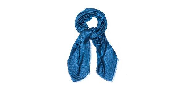Dámský lesklý šál se vzorem Bella Rosa modrý