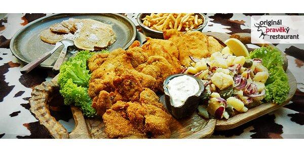 Obědové víkendové menu pro 4 osoby v Originálním pravěkém restaurantu